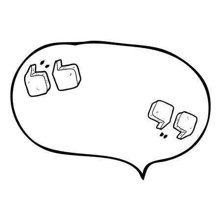 quotation marks: freehand drawn speech bubble cartoon quotation marks