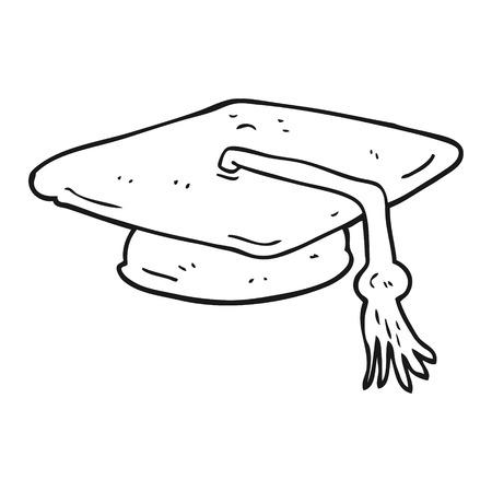 graduacion caricatura: freehand drawn black and white cartoon graduation cap Vectores