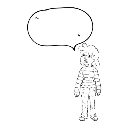 moody: freehand drawn speech bubble cartoon teenager Illustration