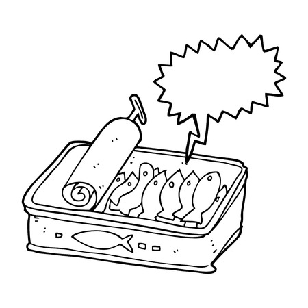 sardinas: dibujado a mano alzada con forma de burbuja de dibujos animados lata de sardinas