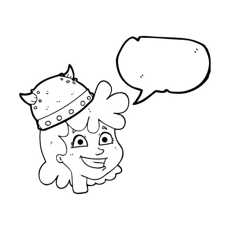 face expressions: freehand drawn speech bubble cartoon female viking