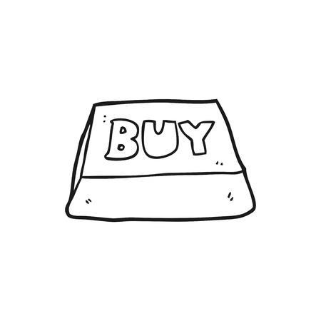 computer key: freehand drawn black and white cartoon computer key buy symbol