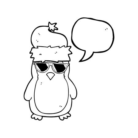 christmas robin: freehand drawn speech bubble cartoon cool christmas robin Illustration