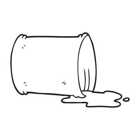 oil drum: freehand drawn black and white cartoon spilled oil drum Illustration