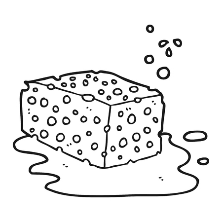 freehand drawn black and white cartoon sponge Vektoros illusztráció