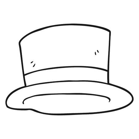 top black hat: freehand drawn black and white cartoon top hat