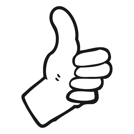 thumbs up sign: freehand drawn black and white cartoon thumbs up sign