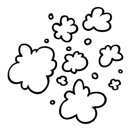 freehand drawn black and white cartoon decorative smoke puff elements Иллюстрация