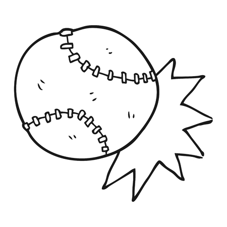 baseball cartoon: freehand drawn black and white cartoon baseball ball Illustration