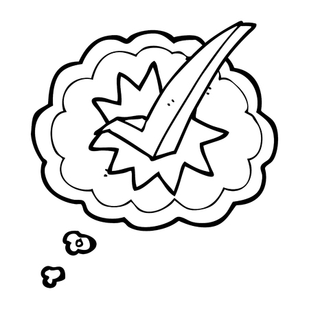 cartoon tick: freehand drawn thought bubble cartoon tick symbol