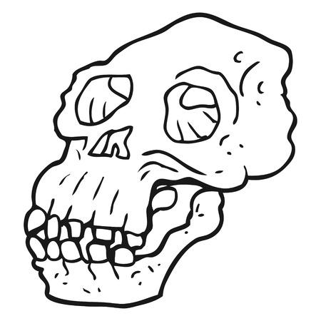 proto: freehand drawn black and white cartoon ancient skull