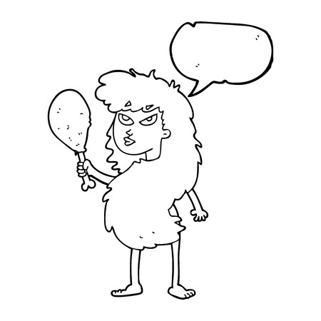 stoneage: freehand drawn speech bubble cartoon cavewoman with meat