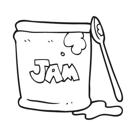 jam jar: freehand drawn black and white cartoon jam jar