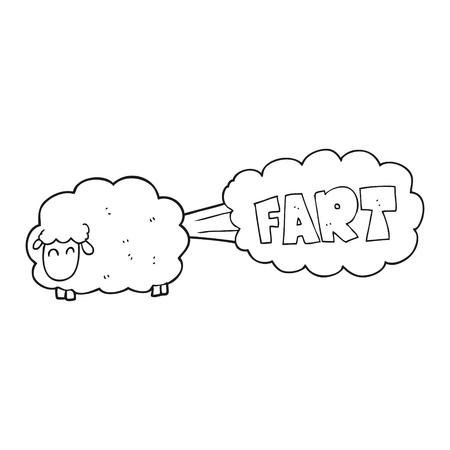 farting: freehand drawn black and white cartoon farting sheep