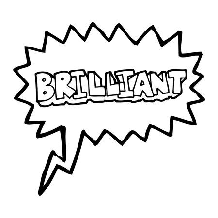 brilliant: brilliant freehand drawn speech bubble cartoon word
