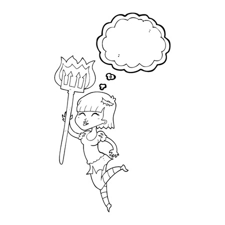 devil girl: freehand drawn thought bubble cartoon devil girl Illustration