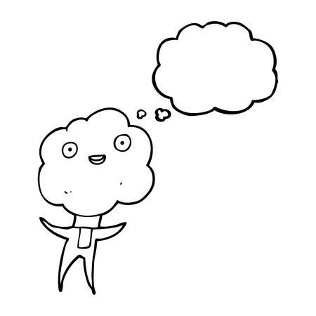 thought balloon: cute cloud head creature