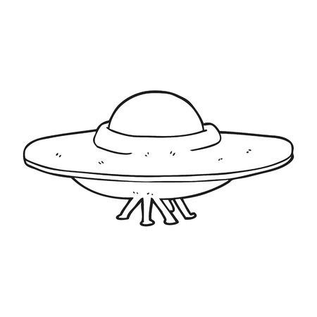 platillo volador: dibujado a mano alzada de dibujos animados en blanco y negro platillo volante