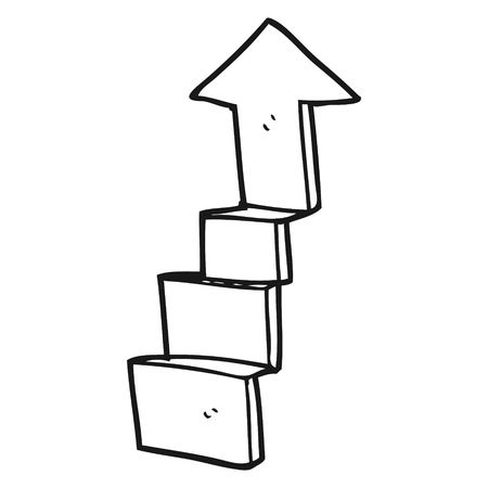 stepping on: freehand drawn black and white cartoon stepping up arrow Illustration