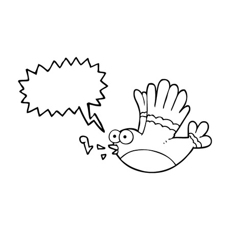 singing bird: freehand drawn speech bubble cartoon singing bird