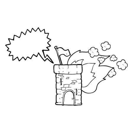 freehand drawn speech bubble cartoon burning castle tower