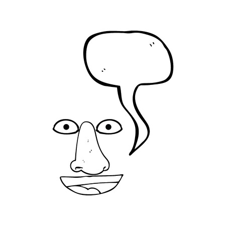 features: freehand drawn speech bubble cartoon facial features Illustration