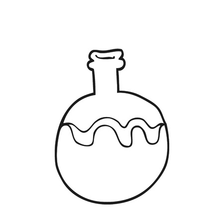 magic potion: freehand drawn black and white cartoon magic potion