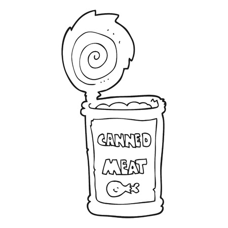 tinned: freehand drawn black and white cartoon canned meat