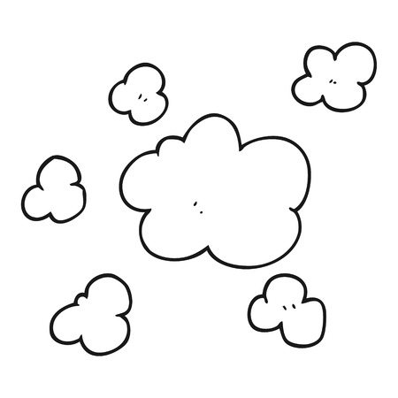 clouds cartoon: freehand drawn black and white cartoon steam clouds Illustration
