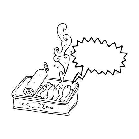 sardines: freehand drawn speech bubble cartoon can of sardines Illustration