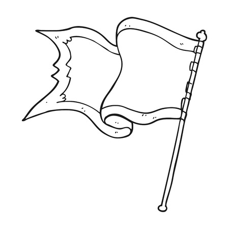 blowing of the wind: freehand drawn black and white cartoon flag blowing in wind