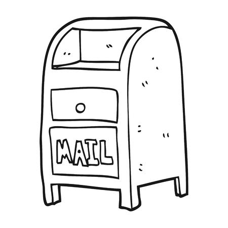 freehand drawn black and white cartoon mail box