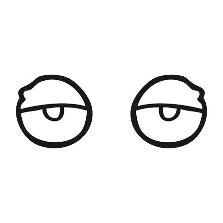 tired eyes: freehand drawn black and white cartoon tired eyes Illustration