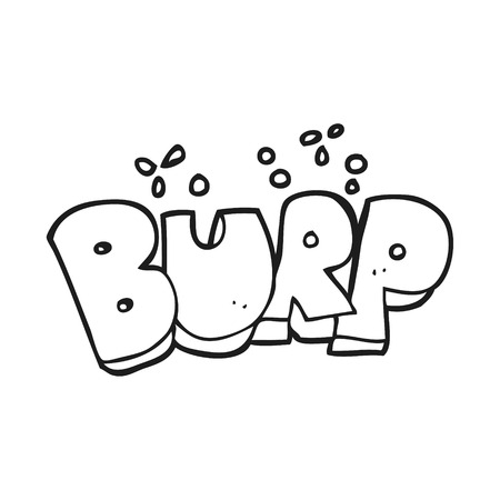 belch: freehand drawn black and white cartoon burp text