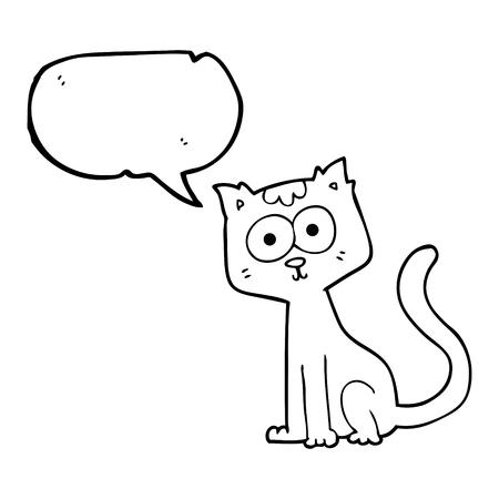 talking cartoon: freehand drawn speech bubble cartoon cat