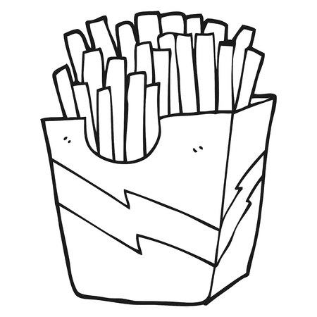 freehand drawn black and white cartoon french fries 일러스트