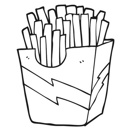 dibujado a mano alzada las patatas fritas de dibujos animados en blanco y negro
