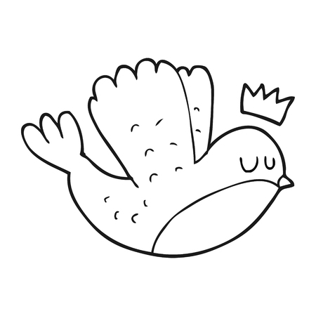 christmas crown: freehand drawn black and white cartoon flying christmas robin with crown