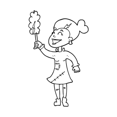 undead: freehand drawn black and white cartoon undead monster lady cleaning Illustration