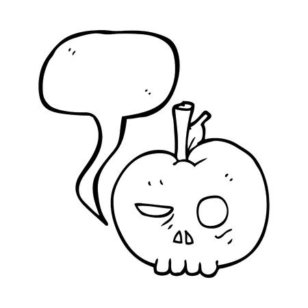 food poison: freehand drawn speech bubble cartoon poison apple Illustration