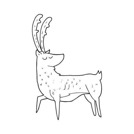 manly: freehand drawn black and white cartoon manly stag