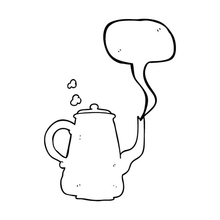 steaming: freehand drawn speech bubble cartoon steaming  coffee pot