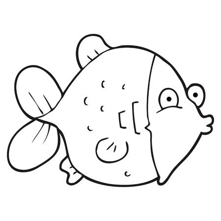 black fish: freehand drawn black and white cartoon funny fish Illustration