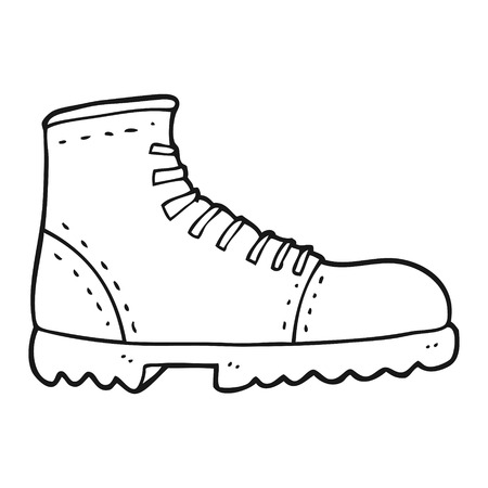 freehand drawn black and white cartoon boot