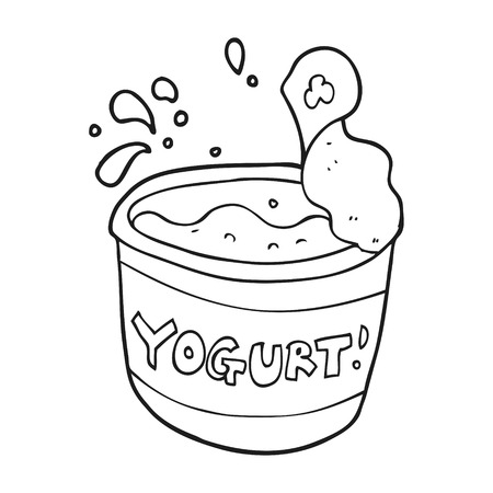 freehand drawn black and white cartoon yogurt Ilustração