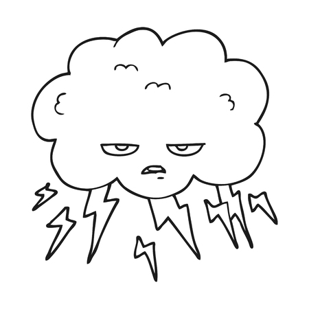 thundercloud: freehand drawn black and white cartoon thundercloud Illustration