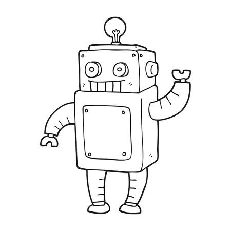 freehand drawn black and white cartoon robot 矢量图片