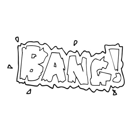 bang: freehand drawn black and white cartoon bang symbol