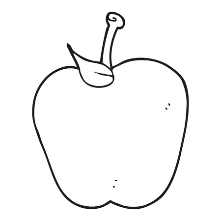 apple clipart: freehand drawn black and white cartoon apple