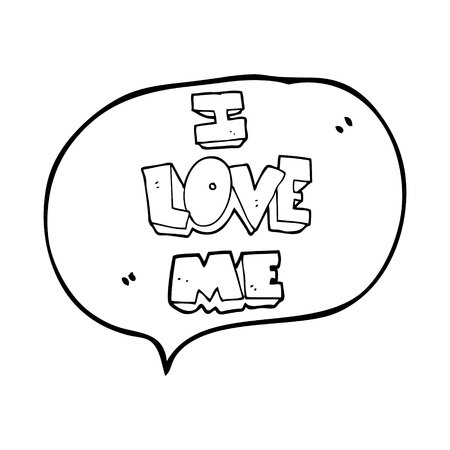 affirmation: i love me freehand drawn speech bubble cartoon symbol Illustration